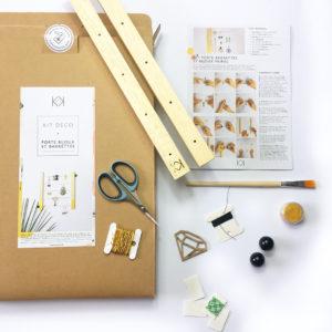 Kit porte bijoux et barrettes à personnaliser - Box créative enfant - Kit porte bijoux bois - kit diy - Kitik - Porte bijoux éco-responsable