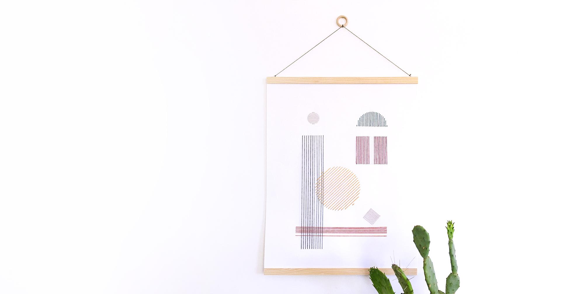 Kit poster à broder - Kit créatif broderie - Affiche à broder - DIY déco poster - kitik